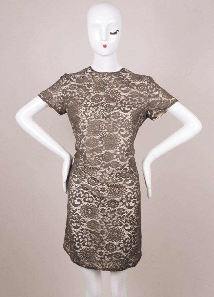 New With Tags Grey and White Lace Short Sleeve Shift Dress