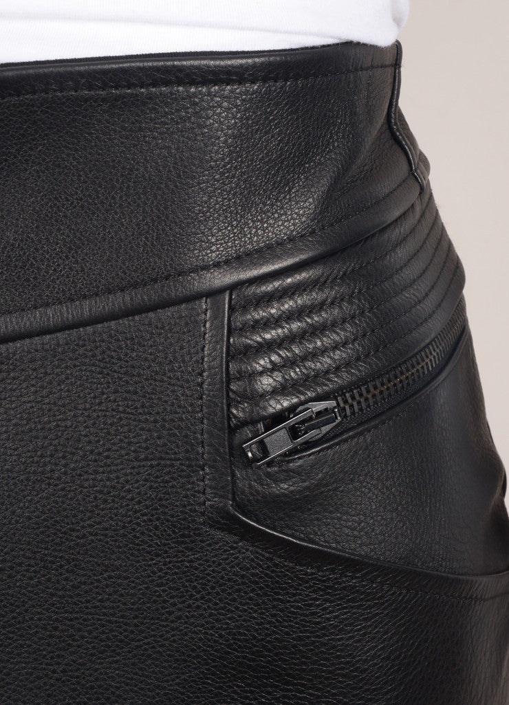 "A.L.C. New With Tags Black Multi-Pocket Quilted Trim Zip ""Peter"" Leather Skirt Detail"