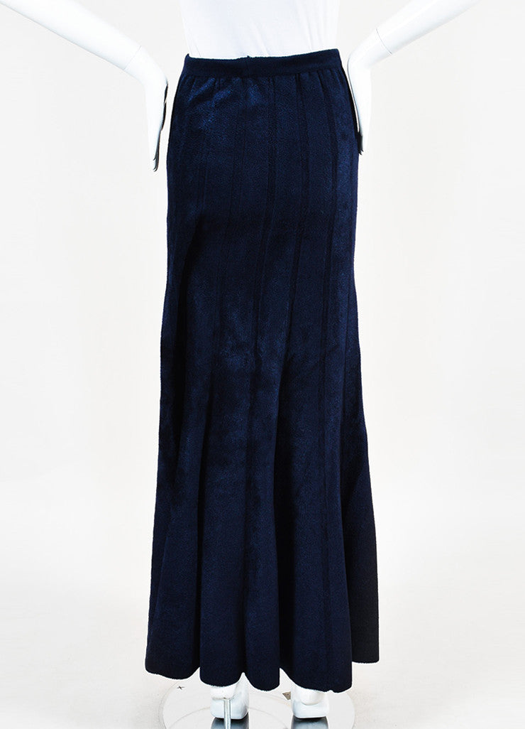 Navy Blue Alaia Velour Thick Seamed Fluted Maxi Skirt Back