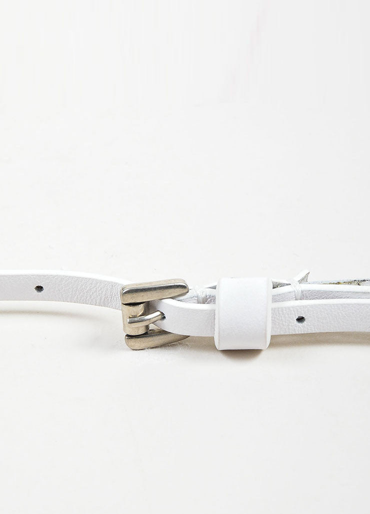 White and Silver Toned Ann Demeulemeester Leather Skinny Ringlet Belt Detail 2