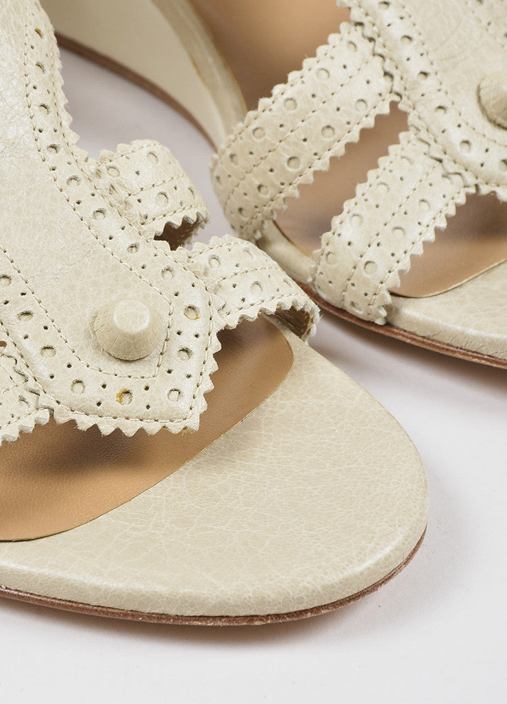 "Balenciaga Beige Distressed Leather Classic Covered ""Brogue"" Wedge Sandals Detail"