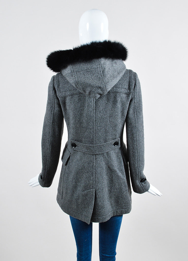 Burberry Brit Grey Wool Fox Fur Trimmed Duffle Hooded Toggle Coat Backview