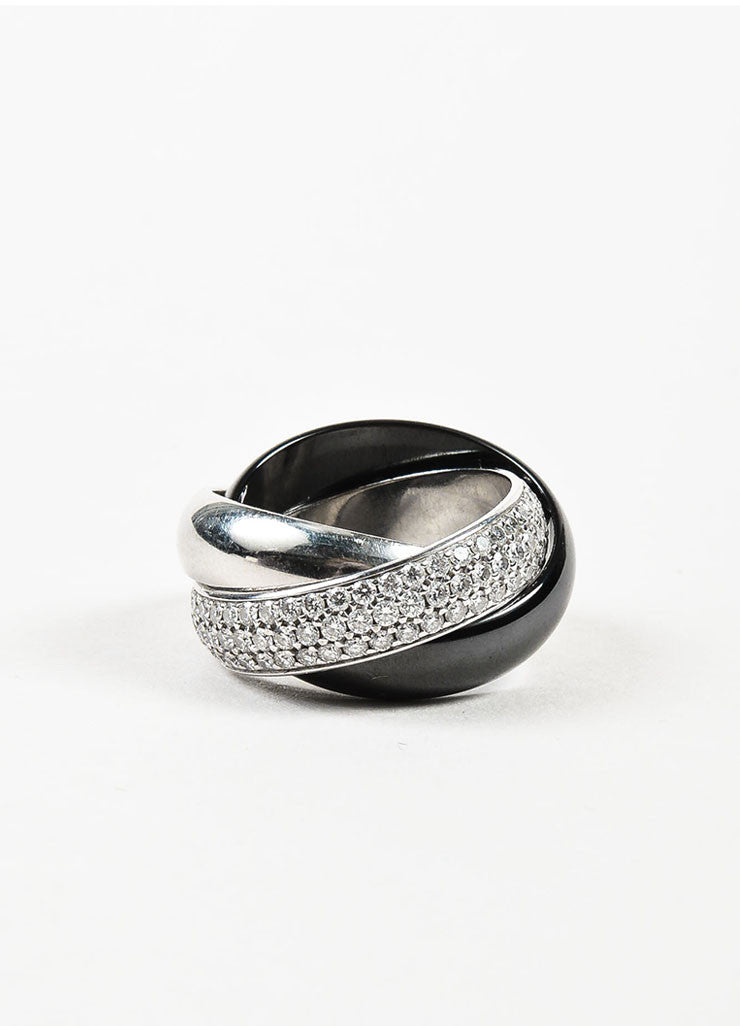 "Cartier 18K White Gold, Ceramic, Platinum, and Diamond ""Trinity de Cartier"" Ring Frontview"
