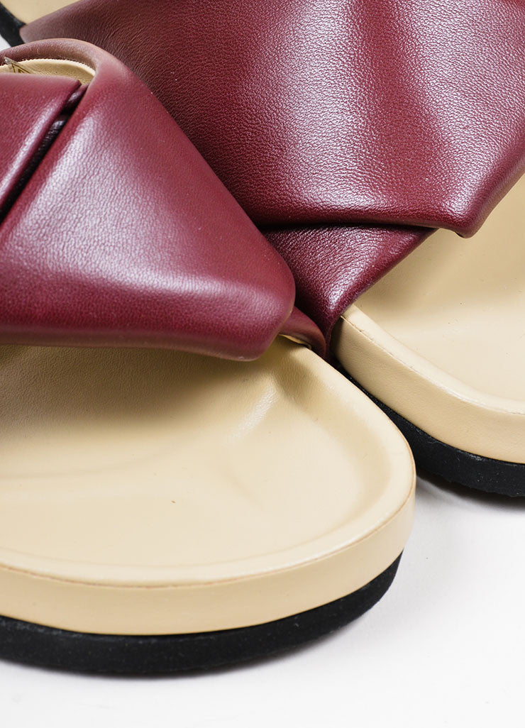 Burgundy Celine Leather Twist Flat Slide Sandals Detail
