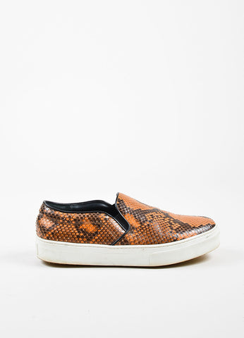 Celine Orange and Black Python Slip On Platform Sneakers Sideview