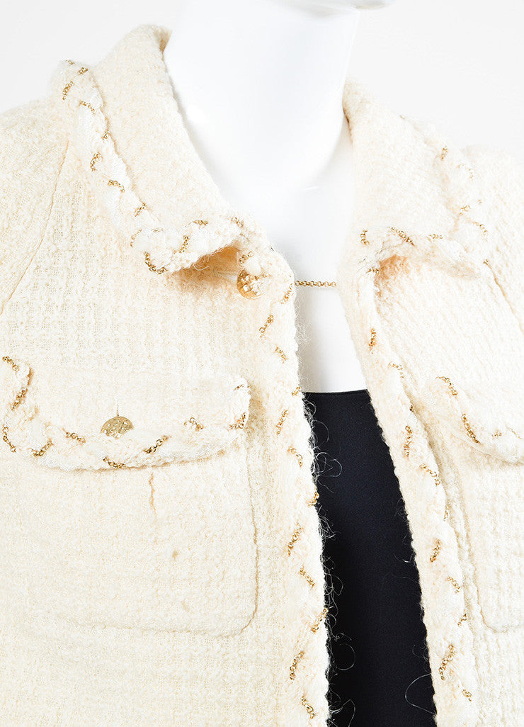 Chanel Cream Tweed Gold Toned Chain Trim Tweed Jacket Skirt Suit Detail