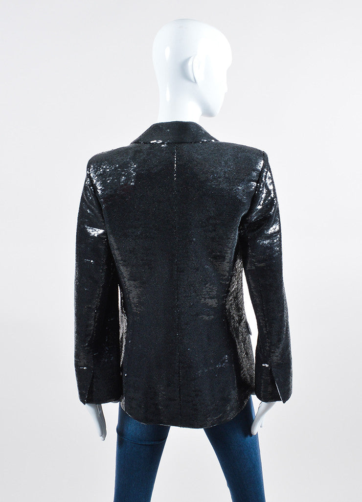 Black Sequin Chanel Blazer Jacket Backview