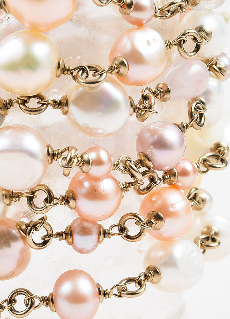 Chanel Gold Toned and Pink Faux Pearl Beaded Multi Strand 'CC' Bracelet Detail