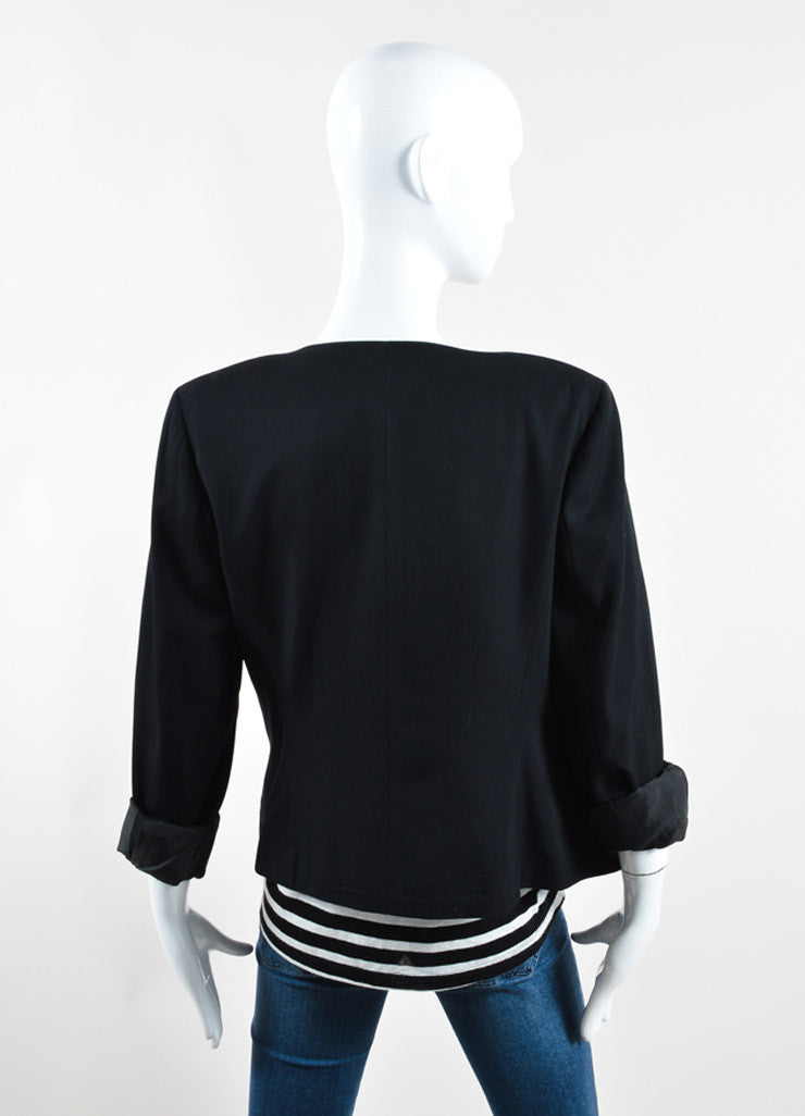 "Chanel Black Wool ""Gabrielle"" Button Up Blazer Backview"
