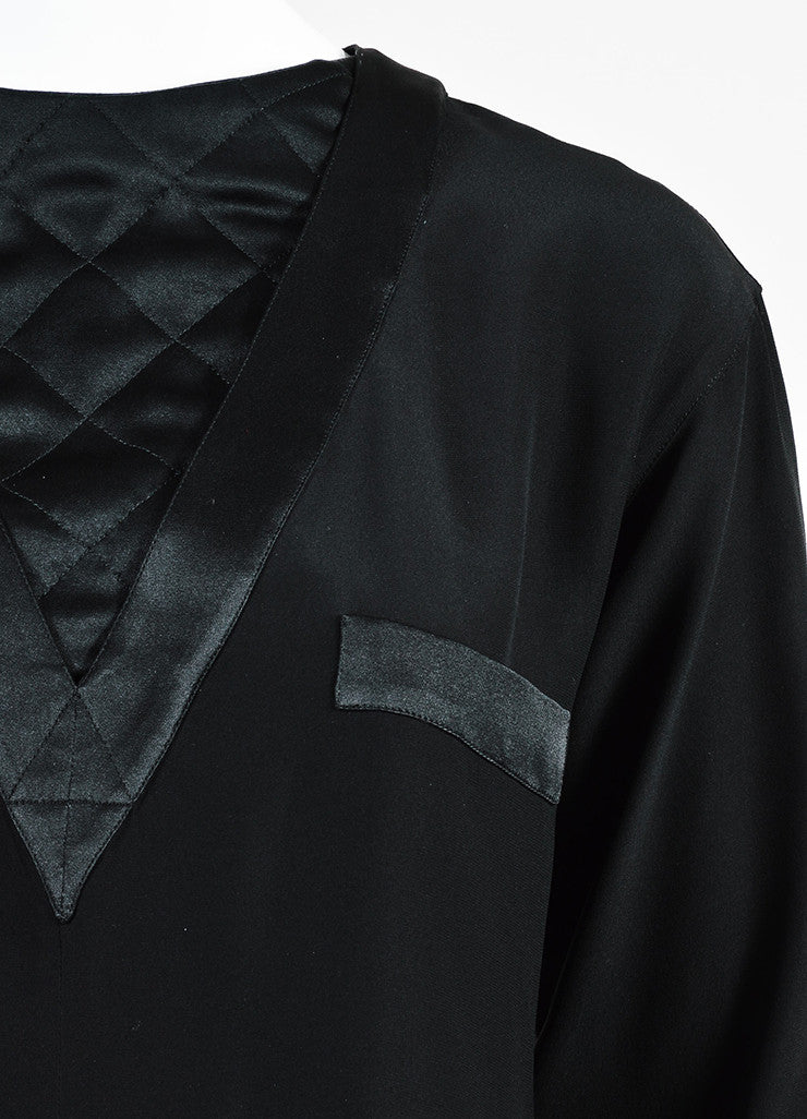 Chanel Black Quilted Inset and Buttoned Back Long Sleeve Blouse Detail