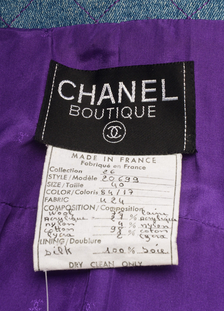 Chanel Purple and Black Wool Knit Denim Trim Woven Long Sleeve Jacket Brand