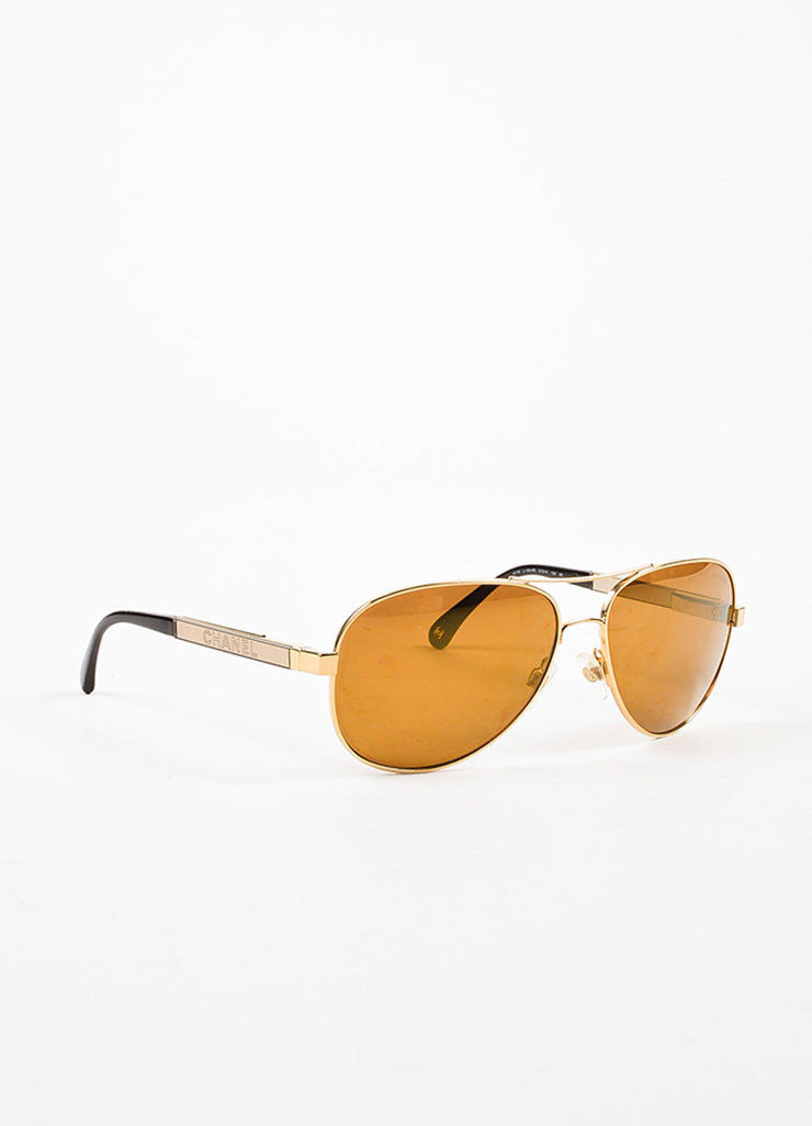 "Brown and Gold Toned Mirror Detail Chanel ""Collection Miroir"" Aviator Sunglasses Sideview"