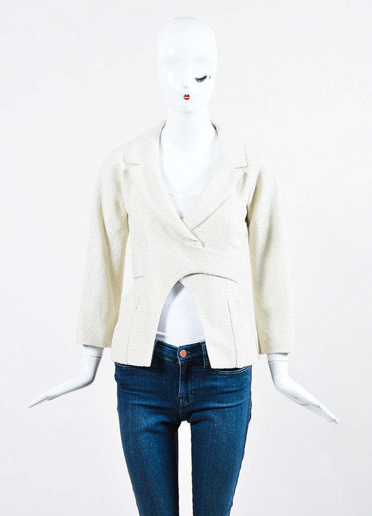 Cream and Silver Chanel Boucle Wool Stone Embellished Wrap Belt Blazer Jacket Frontview