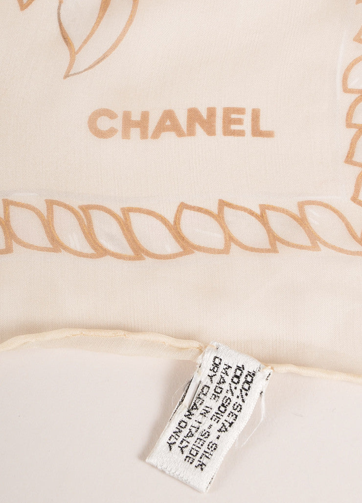 Chanel Cream and Taupe Floral Print Semi-Sheer Silk Scarf Brand