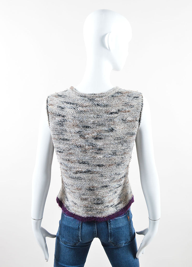 Chanel Grey and Purple Stretch Wool Fringe Sweater Vest Backview