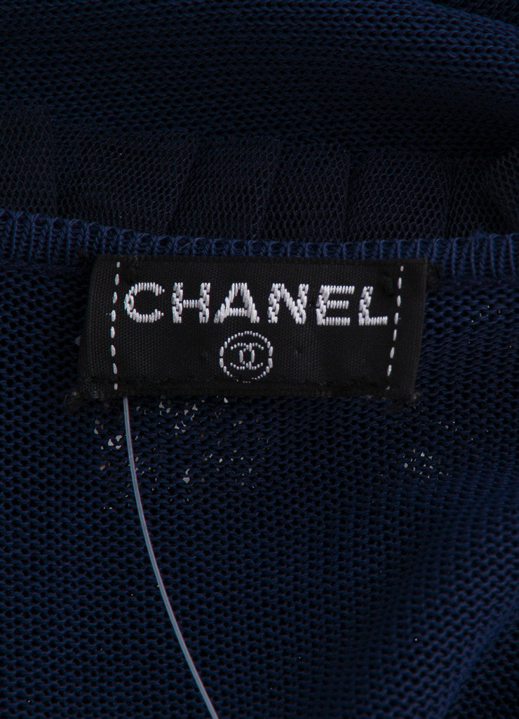 "Chanel Navy Blue Knit Tulle Ruffle Trim ""CC"" Logo Wrap Tie Cropped Sweater Brand"