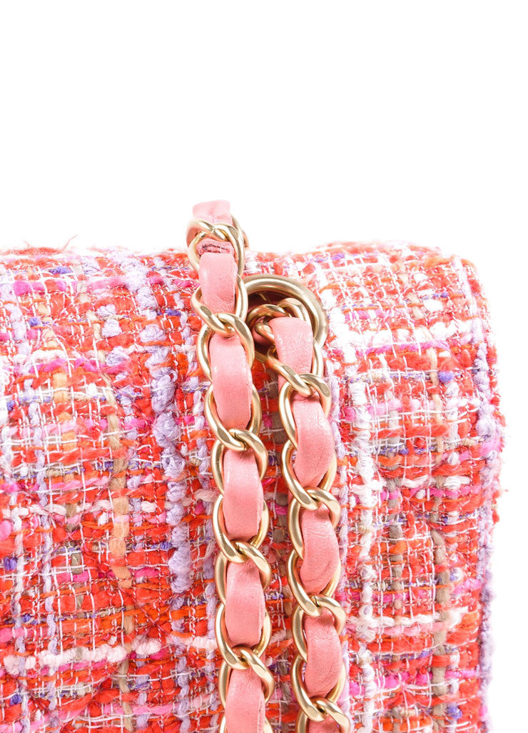 Chanel Pink And Multicolor Gold Tone Tweed Quilted Medium Double Flap Bag Detail 2