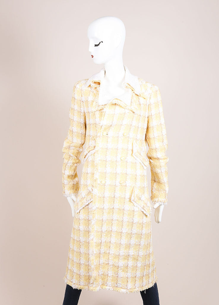 Chanel Yellow and White Woven Tweed Plaid Print Fringe Trim Long Sleeve Coat Frontview