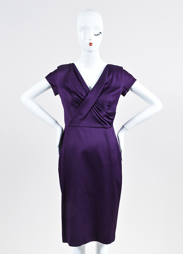 Dark Purple Christian Dior Crisscross Pleated V-Neck Short Sleeve Pencil Dress Frontview