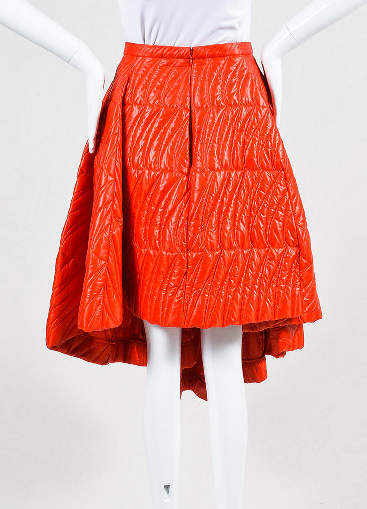 Red Christian Dior Quilted Nylon Angled Pleated Skirt Backview