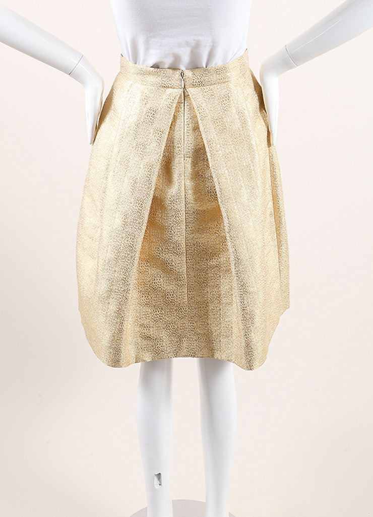 Christian Dior New With Tags Gold Metallic Pleated Bow Skirt Backview