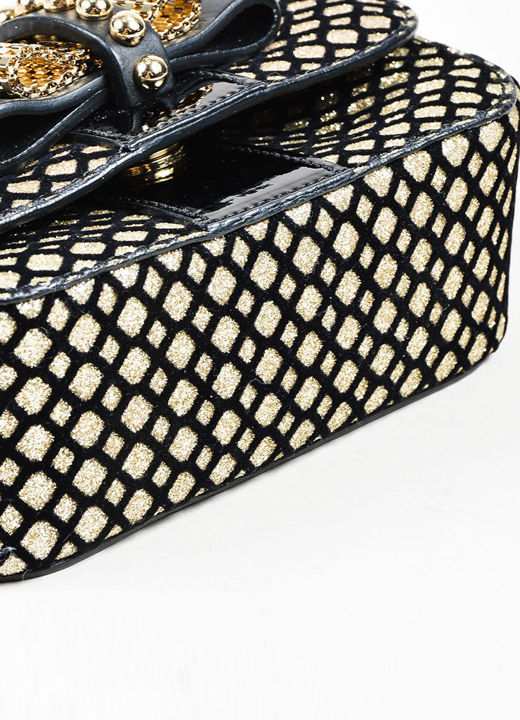 "Black and Gold Metallic Christian Louboutin Chain Strap ""Sweet Charity"" Evening Bag Bottom View"