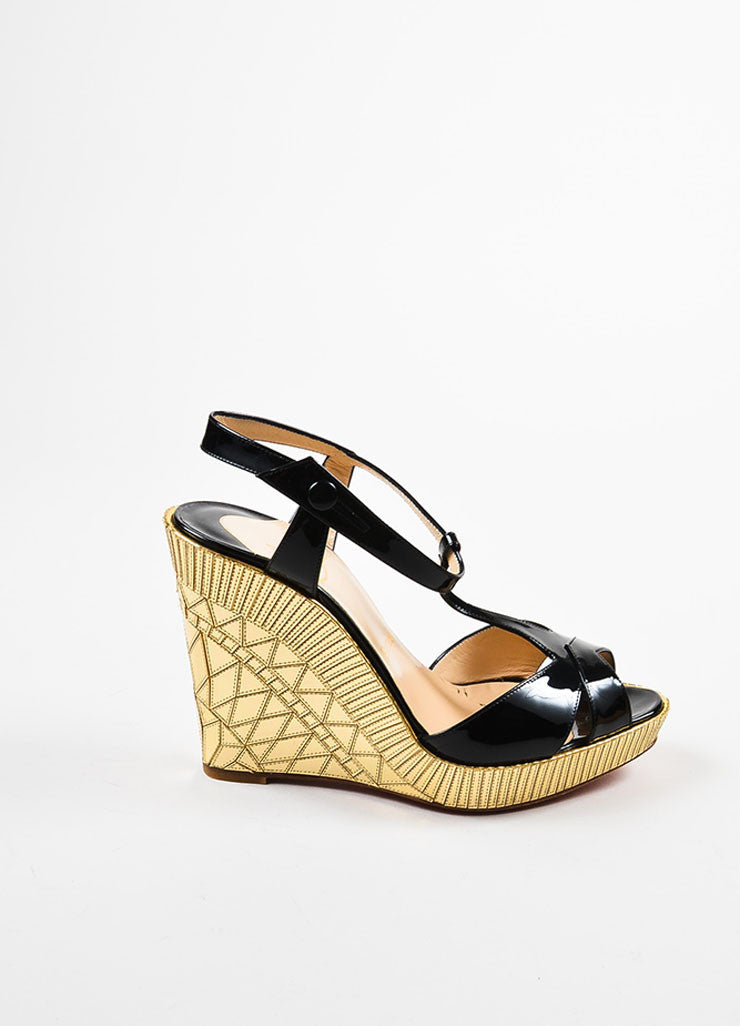 "Christian Louboutin Black Patent Leather Gold Mirror ""Cotton Club"" Wedges Sideview"