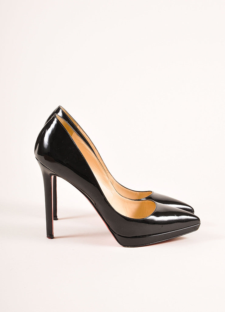 "Christian Louboutin Black Patent Leather ""Pigalle Plato 120mm"" Pumps Sideview"