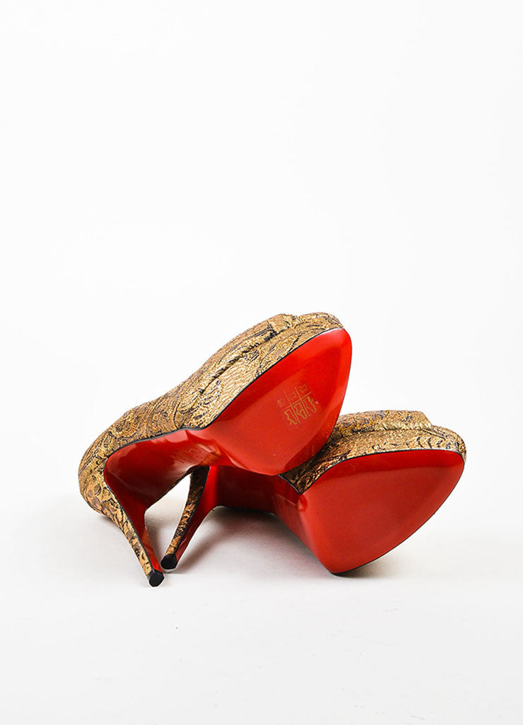 "Christian Louboutin Gold Brocade ""Lady Peep"" Platform Pumps Outsoles"