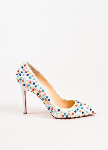 "Christian Louboutin White and Multicolor Leather Spiked ""Pigalle"" Pumps Sideview"