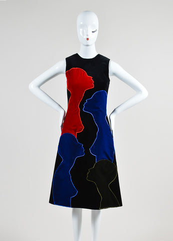 Black, Red, and Blue Christopher Kane Cotton Velvet Sleeveless Shift Dress Frontview