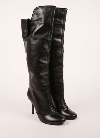 Claudia Ciuti Black Leather Buttoned Flap Knee High Heeled Boots Frontview