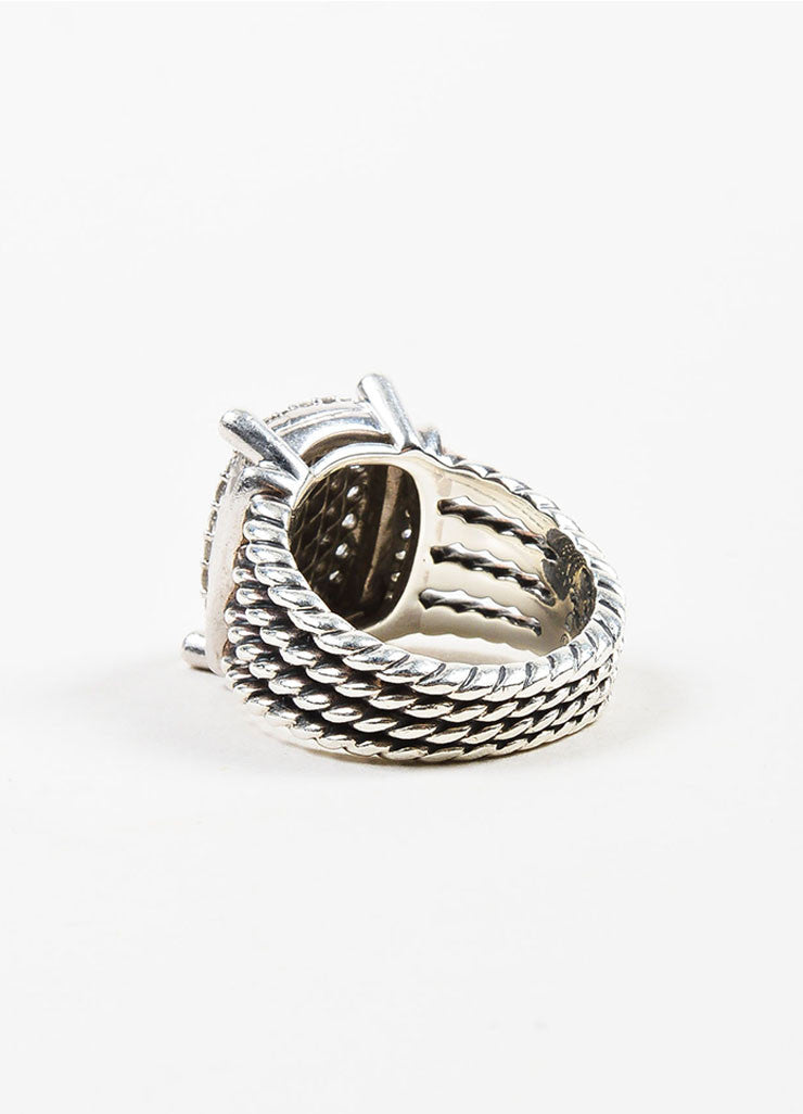 "Sterling Silver and Pave Diamond David Yurman ""Wheaton"" Cable Ring Backview"