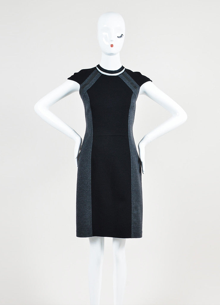 Black and Grey Fendi Interlock Knit Color Block Cap Sleeve Dress Frontview