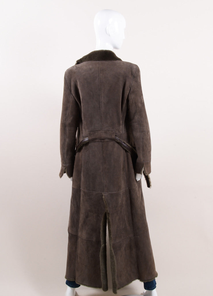 Giorgio Armani Brown Suede Leather and Fur Long Sleeve Full Length Belted Coat Backview