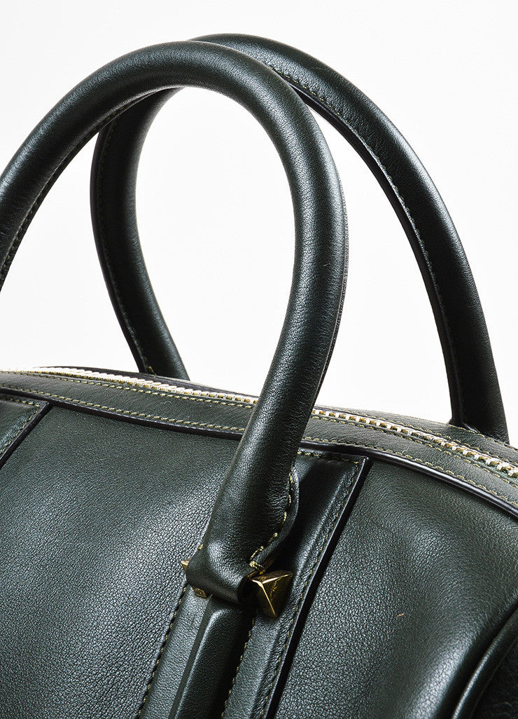 "Givenchy Dark Olive Green Leather Paneled ""Medium Lucrezia"" Duffel Bag Detail 2"
