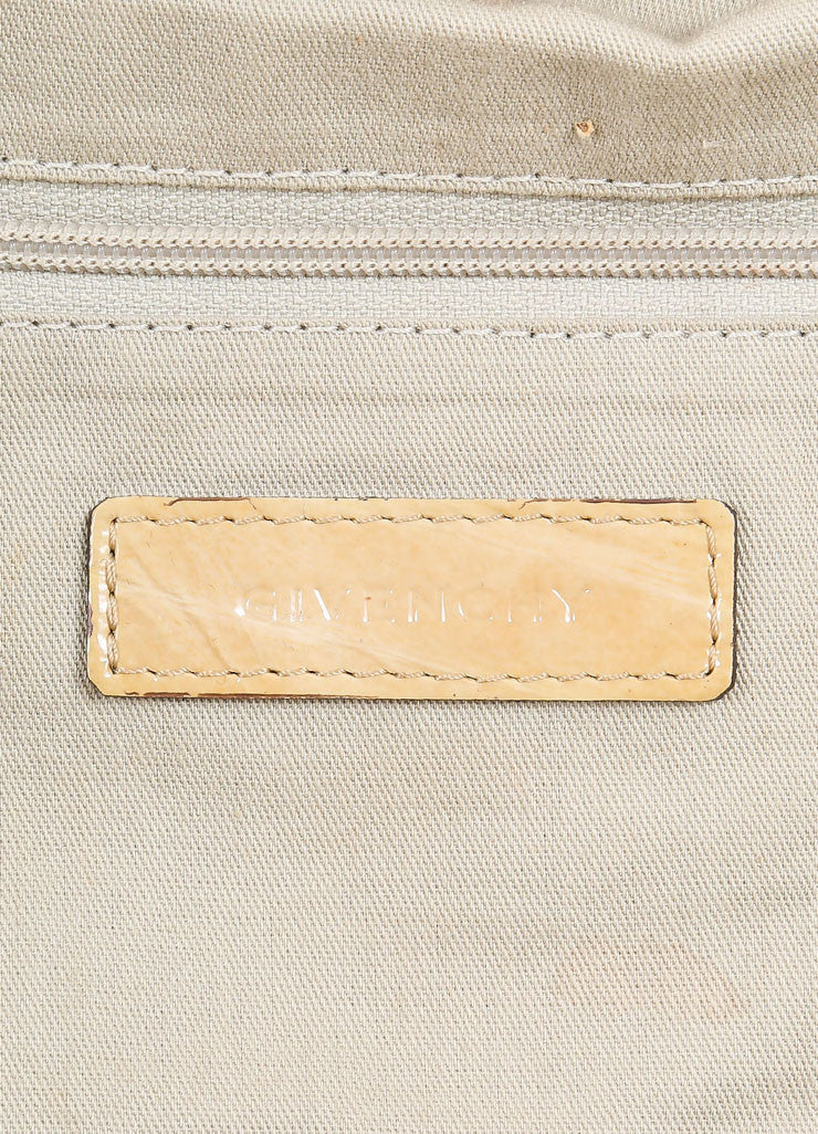 "Givenchy Beige Crinkled Patent Leather Large ""Nightingale"" Tote Bag Brand"