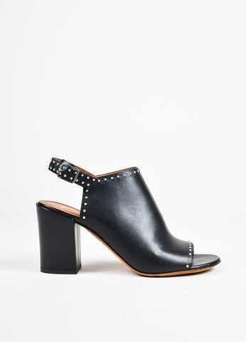 Givenchy Black Silver Tone Leather Studded Open Toe Slingback Mule Booties side