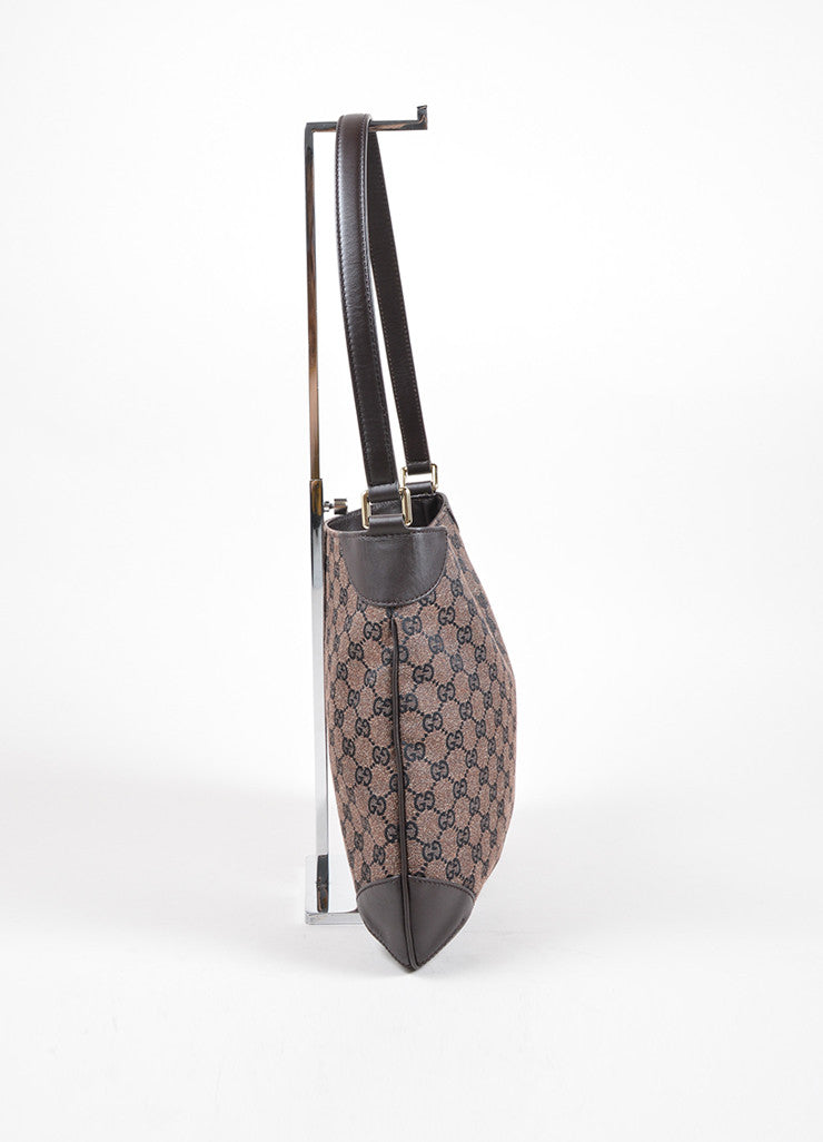 Gucci Brown Monogram Canvas and Leather Shoulder Bag Sideview
