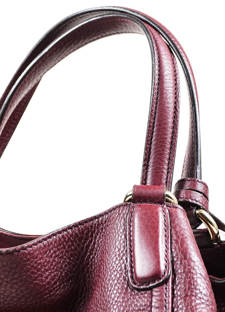 "Maroon Gucci Leather Embossed 'GG' Tassel ""Soho Working"" Tote Bag Handle"