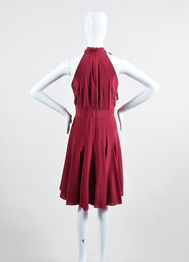 Burgundy Gucci Silk Neck Tie Bow Flare Godet Dress Backview