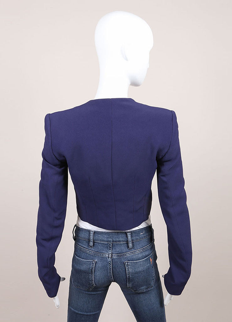 "Haider Ackermann New With Tags Navy Blue Cropped Long Sleeve ""Coronus"" Suiting Jacket Backview"