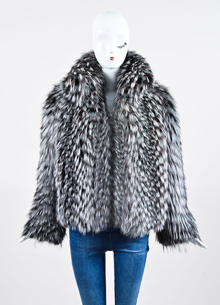 Grey Halston Long Mottled Fox Fur Long Sleeve Short Coat Frontview 2