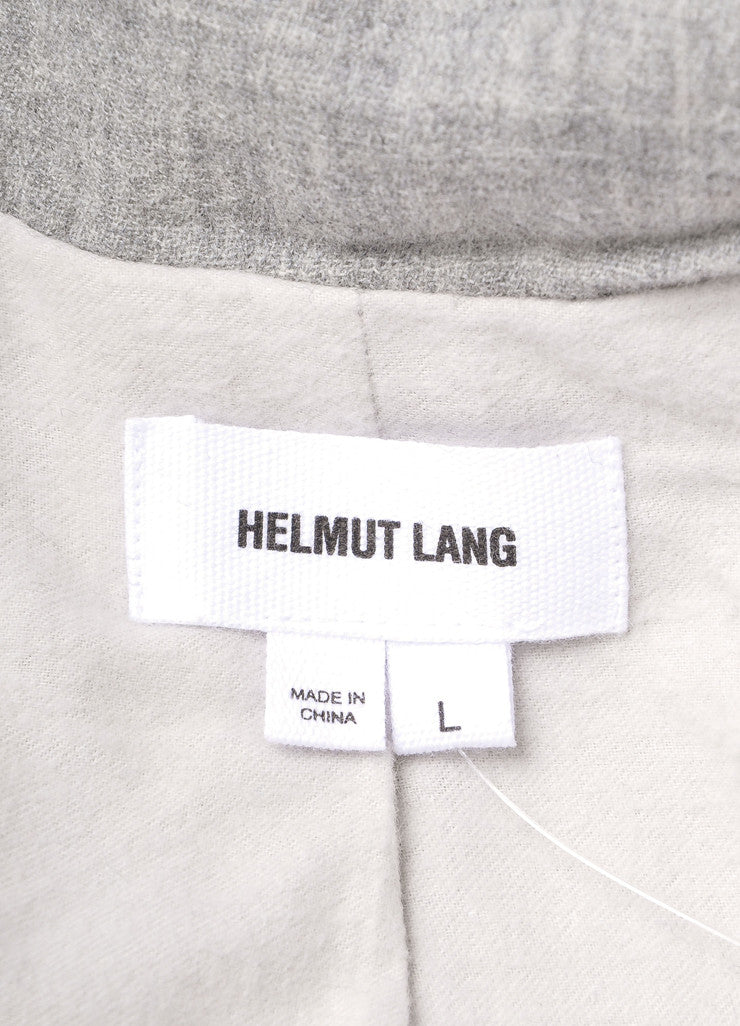 Helmut Lang New With Tags Grey Leather and Wool Paneled Funnel Neck Zip Coat Brand