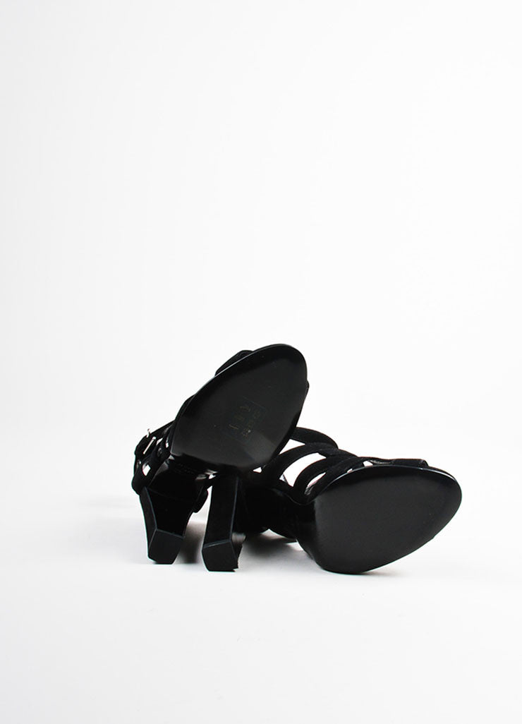 Hermes Black Suede Buckled Open Toe Cage Sandals Outsoles