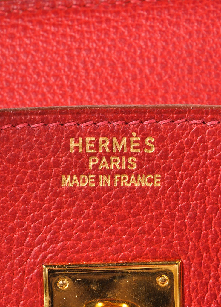 "Hermes Red and Gold Toned ""Rouge Garance"" Buffalo Skipper Leather 35cm Birkin Bag Brand"