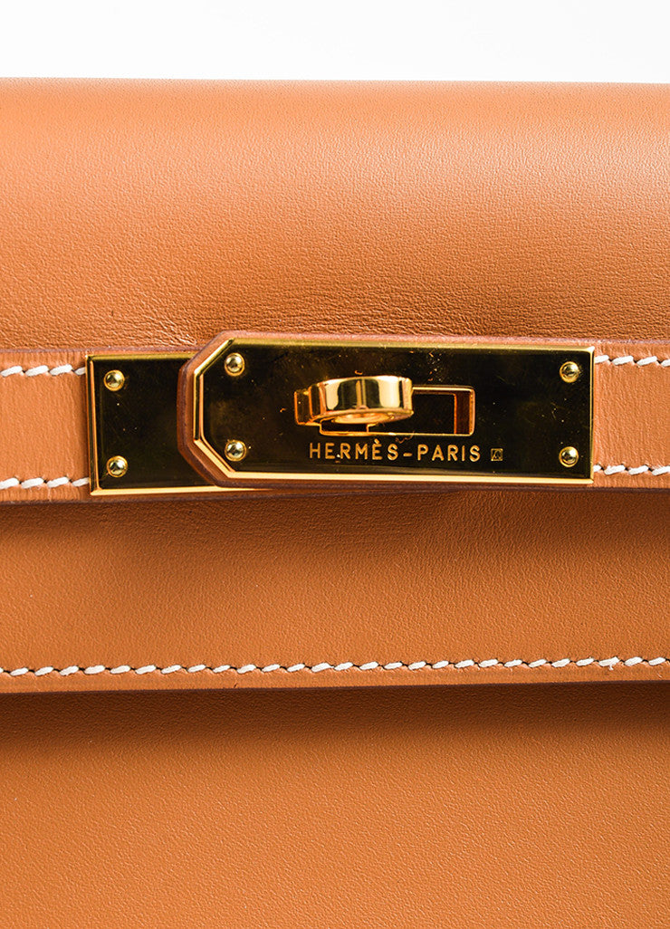"Hermes Natural Tan Chamonix Leather Gold Toned Hardware ""Kelly 32cm"" Bag Detail 2"