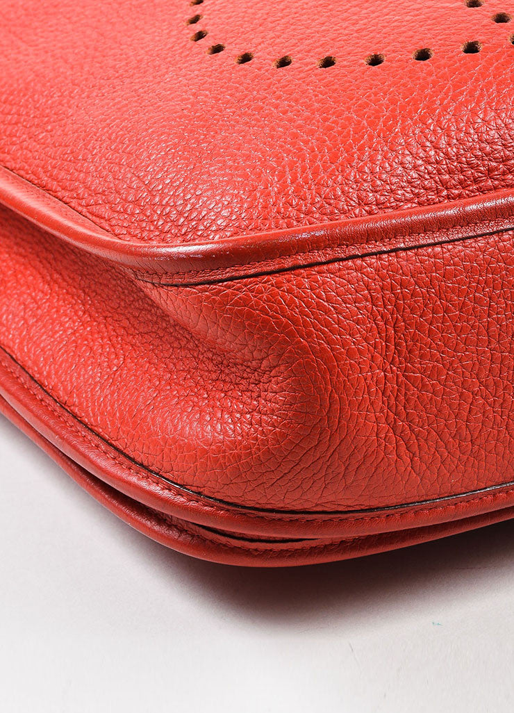 "Hermes Red Clemence Leather Canvas Strap ""Evelyne II PM"" Shoulder Bag Detail"