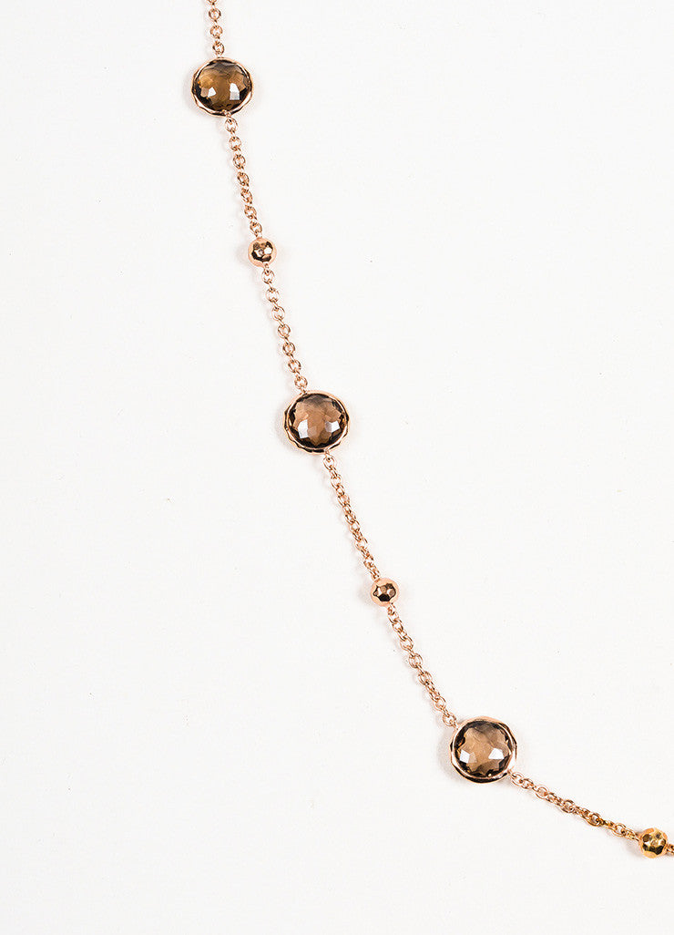 Ippolita Rose Gold Plated Sterling Silver Smoky Quartz 8 Station Chain Necklace Detail 2