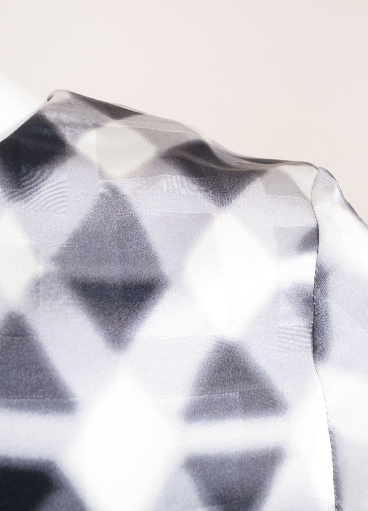 Kenzo New With Tags Grey and White Checkered Print and Jacquard Long Sleeve Silk Shift Dress Detail
